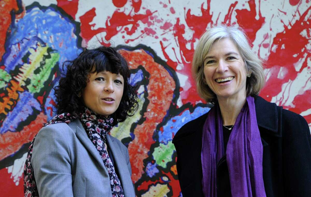 Emmanuelle Charpentier (left) and Jennifer Doudna won the Nobel Prize in chemistry in October for their work on the CRISPR-Cas9 gene editing tool, which is the subject of Walter Isaacson's new book.