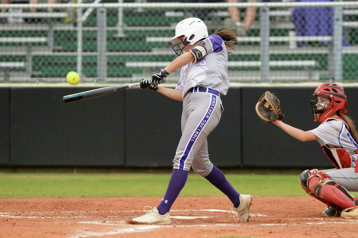 Grace Janik (16) of Ridge Point swings at a pitch during the first inning of a Class 6A Region III playoff softball game between the Ridge Point Panthers and Cy Creek Cougars on Wednesday, May 1, 2019 at Mayde Creek High School, Katy, TX.