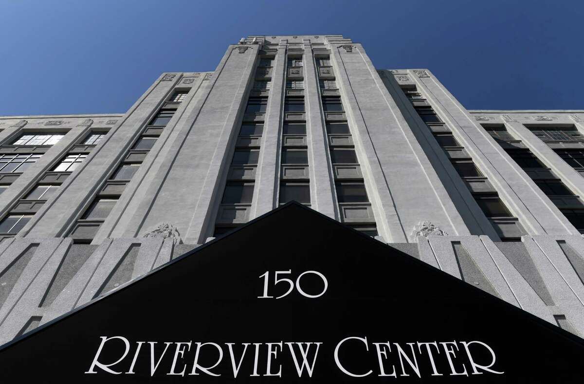 Riverview Center, formerly Montgomery Ward buildings, is up for sale on Monday, April 5, 2021, on Broadway in Menands, N.Y. (Will Waldron/Times Union)