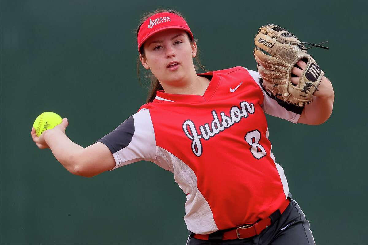 Judson second baseman Mimi Thornton prepares to throw a runner out at first during their game with Brennan in the 2021 East Central/Judson Varsity Softball Tournament at Judson on Friday, Feb. 26, 2021. Judson beat Brennan 9-0.