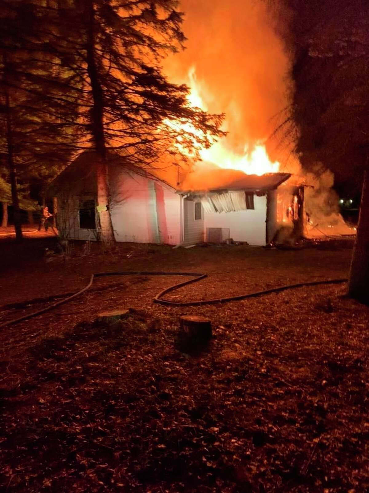 AForester Township home was destroyed by fire early Monday morning. The Port Sanilac, Deckerville, Carsonville, and Delaware Township fire departments were on hand to put the fire out. (Port Sanilac Fire Department/Courtesy Photo)