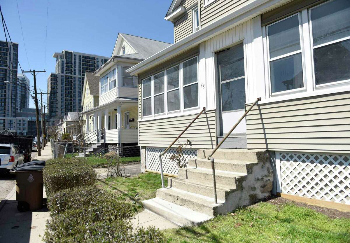 The Manor Street home in which a woman was found dead on Friday in the South End of Stamford, Conn., photographed on Monday, April 5, 2021. City detectives are investigating after 50-year-old Denise McLaughlin was found dead late Friday in an apparent homicide, police said.