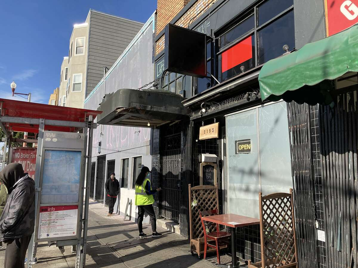 The former Blowfish Sushi to Die For at 2193 Mission St., San Francisco, is seen on April 4 with a painted-over logo.