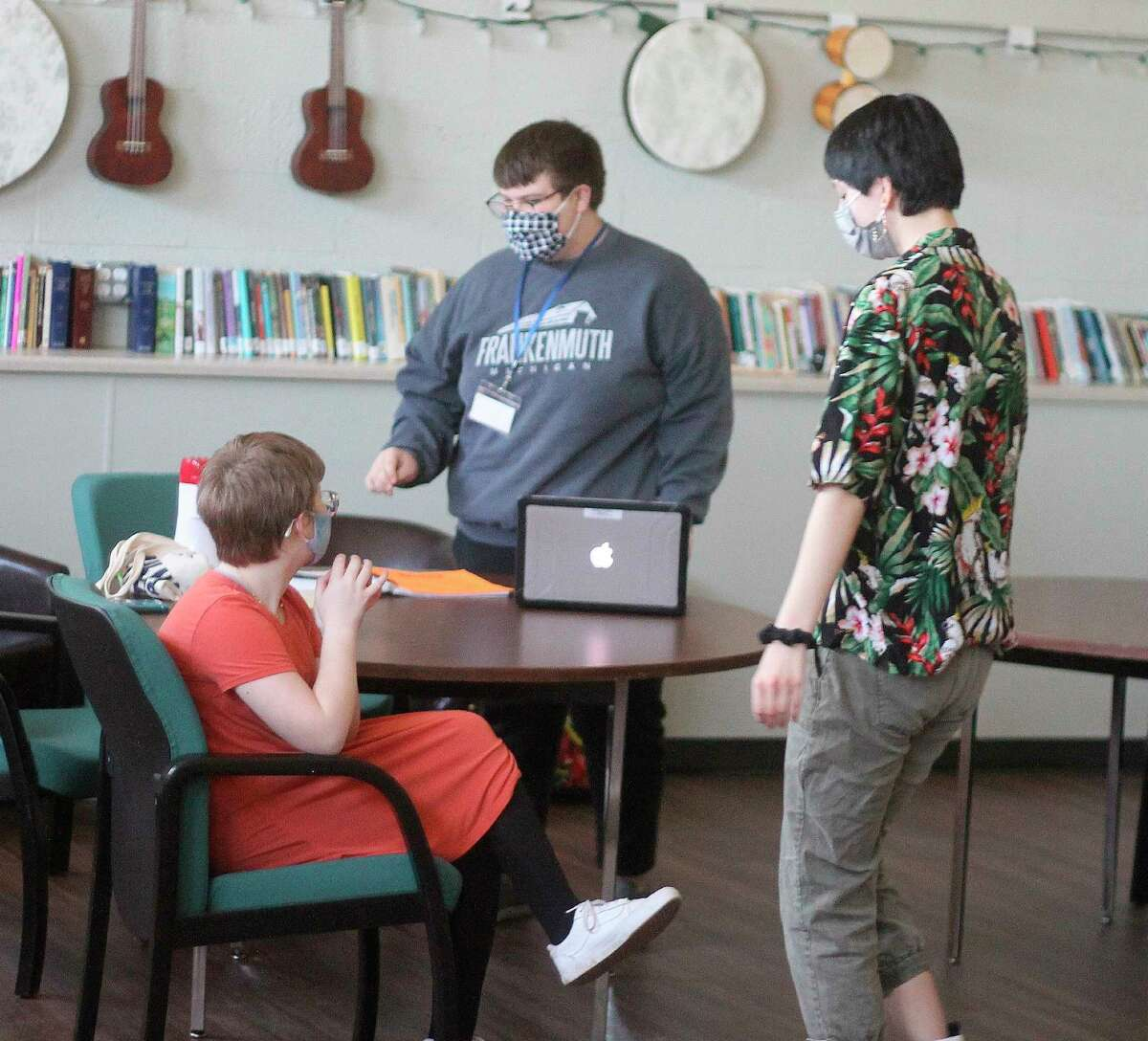 Kaleb Shoemate (center) helps everyone prepare for the virtual talent show at the Armory Youth Project on Friday. (Kyle Kotecki/News Advocate)