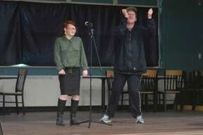 """Eren Hawkins andAndrew McGaffigan sing a duet of """"The Reaper"""" by Blue Oyster Cult Friday at the Armory Youth Project. (Kyle Kotecki/News Advocate)"""