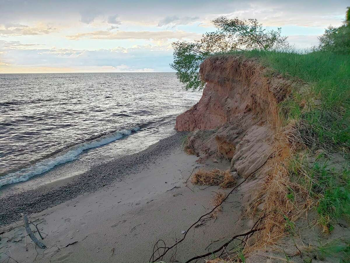 Shown is a section of shoreline near Magoon Creek last summer after clumps of trees fell into Lake Michigan along the bluff. Filer Township may also be part of the drone imagery pursued through part of theRemote Sensing and GIS Research and Outreach Servicesteam project.(File photo)
