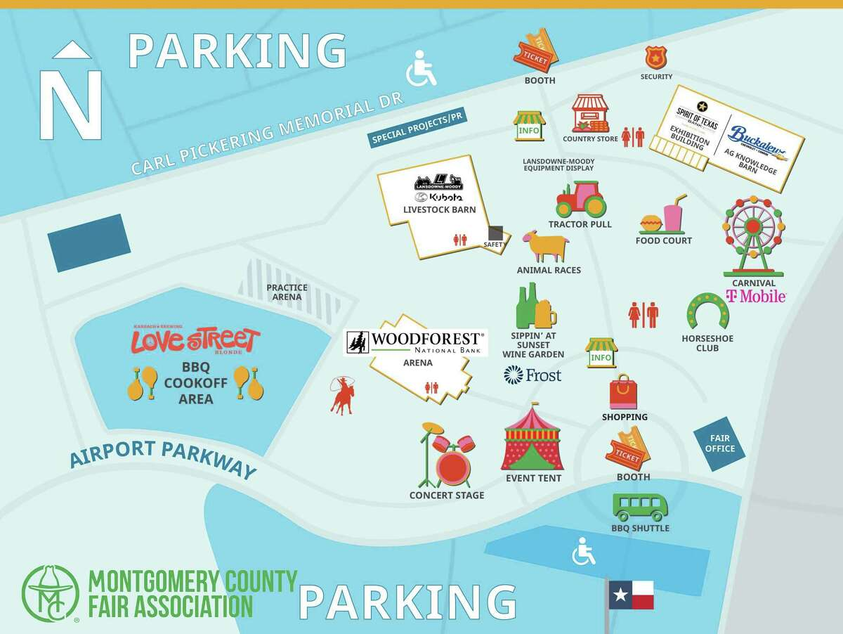 A map of the Montgomery County Fair layout for 2021.