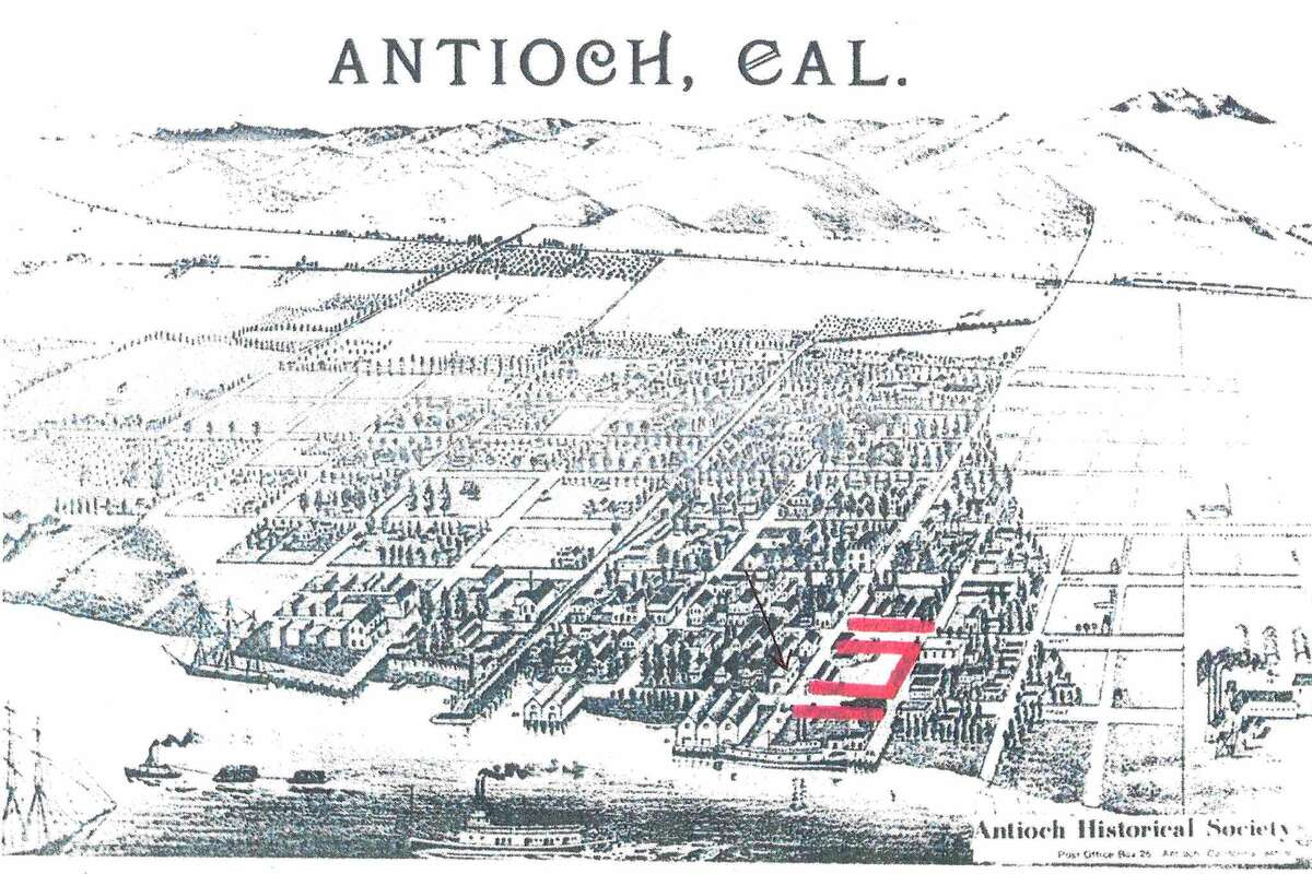In the 1800s, Antioch's Chinatown consisted of homes and stores on both sides of First and Second streets, from G to I streets, as highlighted in red on the map.