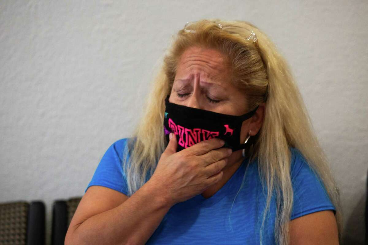 Loretta Romo, grieves the murder of her granddaughter, Brianna Navarro, 22, Monday, April 5, 2021, in Houston. Navarro was six months pregnant when she was shot and killed on Sunday, April 4, 2021.