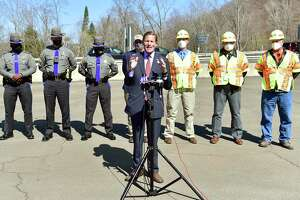U.S. Senator Sen. Richard Blumenthal, at a press conference Monday, is demanding that tech companies upgrade GPS apps such as Waze, Google Maps and Apple Maps to direct trucks away from limited-access highways, including the Merritt and Wilbur Cross parkways, at the DOT Fleet Garage by the Wilbur Cross Parkway in New Haven.