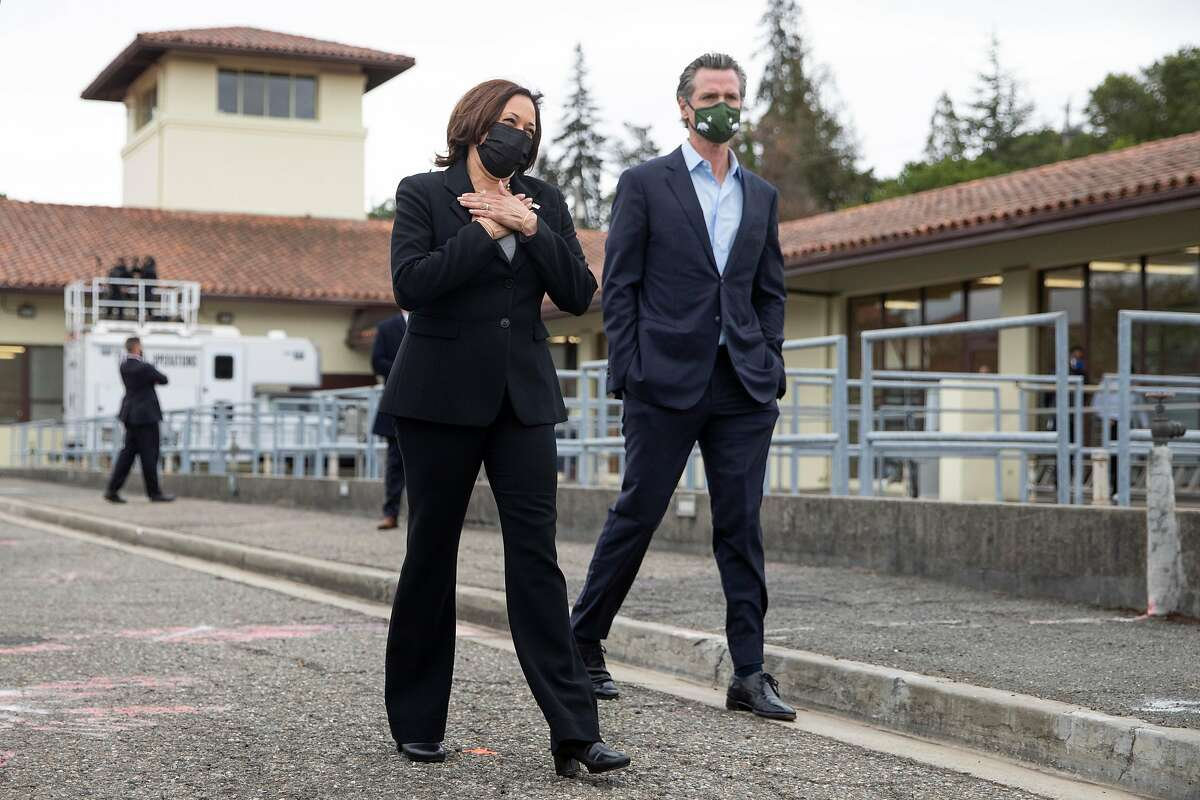 Vice President Kamala Harris and Gov. Gavin Newsom tour the East Bay Municipal Utility District's Upper San Leandro Water Treatment Plant in Oakland on Monday.