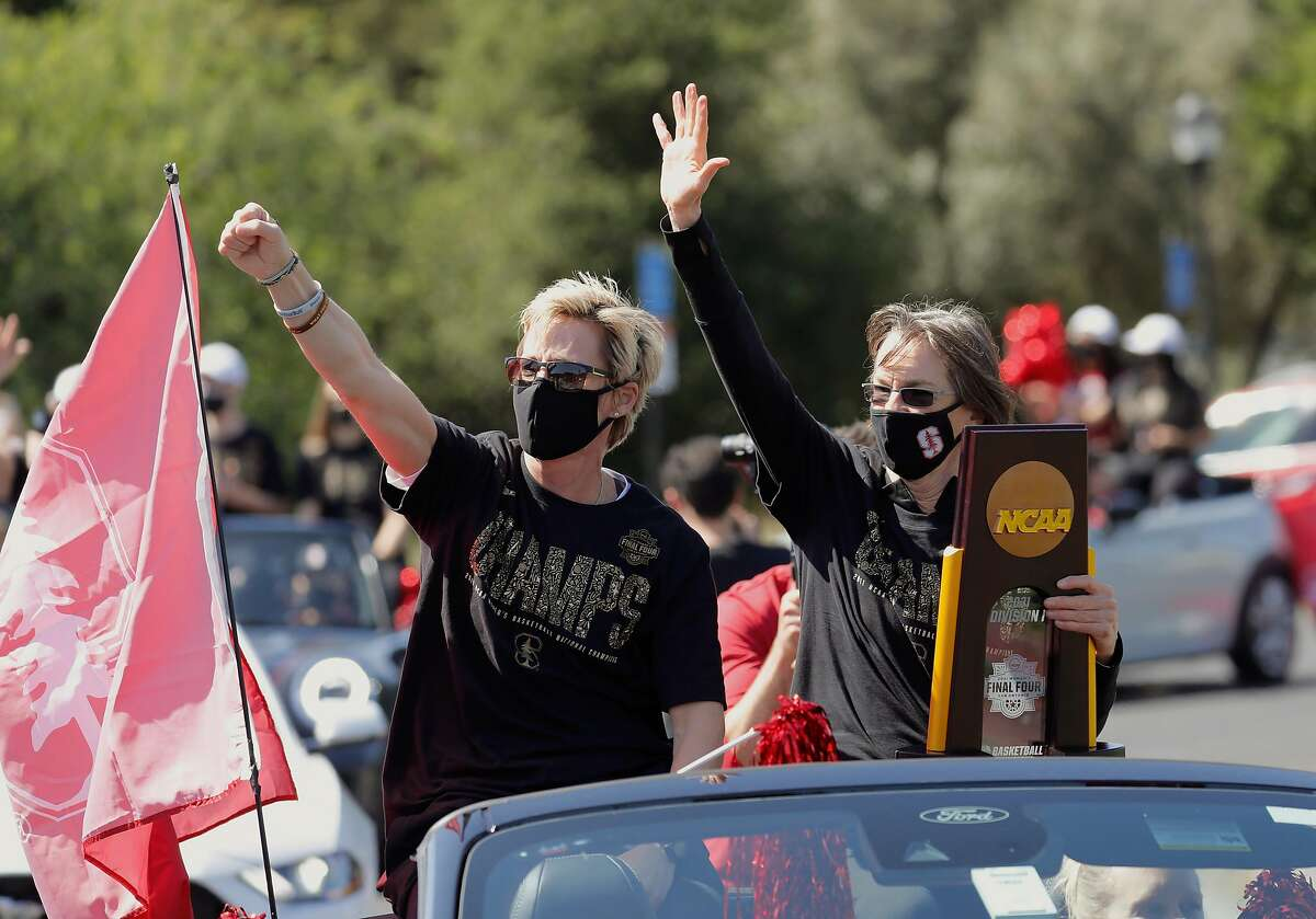 Stanford assistant coach Kate Paye (left) and head coach Tara VanDerveer celebrate the program's first national title since 1992.