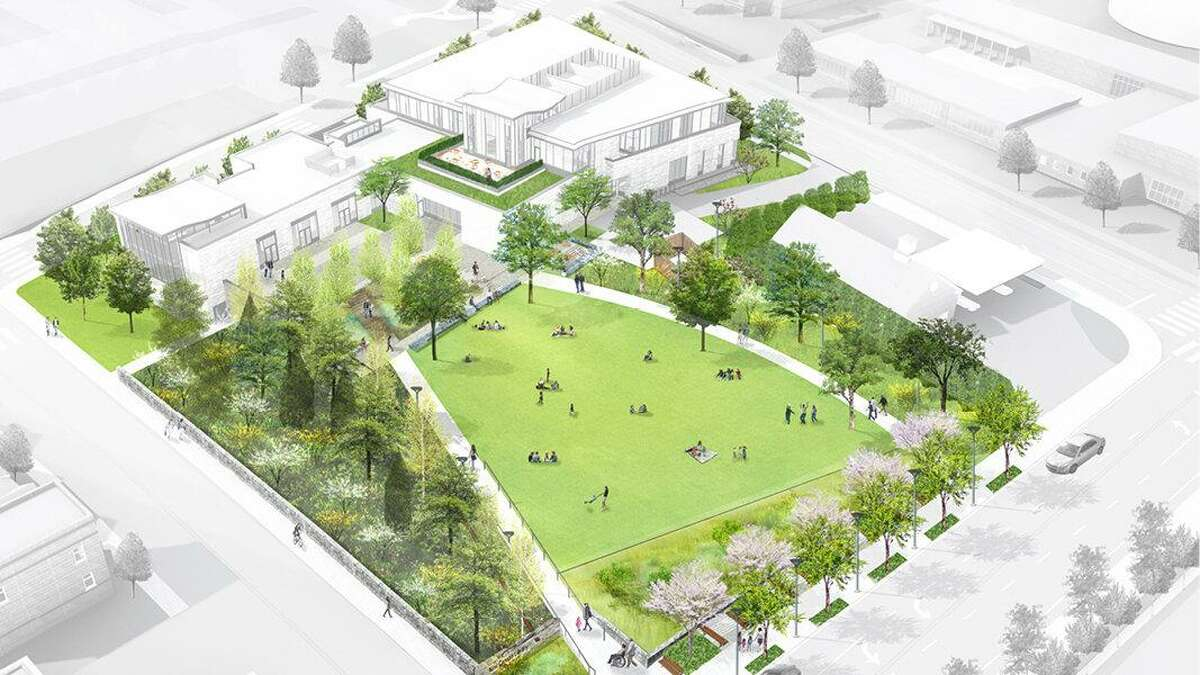 The new library plans currently call for a green space where the 1913 library is located.