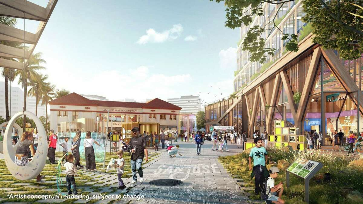 An artist's rendering of Google's planned 80-acre megaproject next to Diridon Station in San Jose.