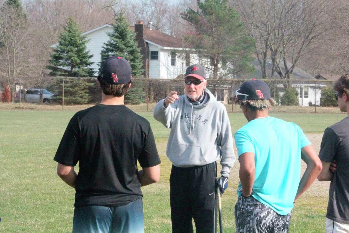 Big Rapids baseball coach Sam Daugherty talks to his team prior to a Monday practice. (Pioneer photo/John Raffel)
