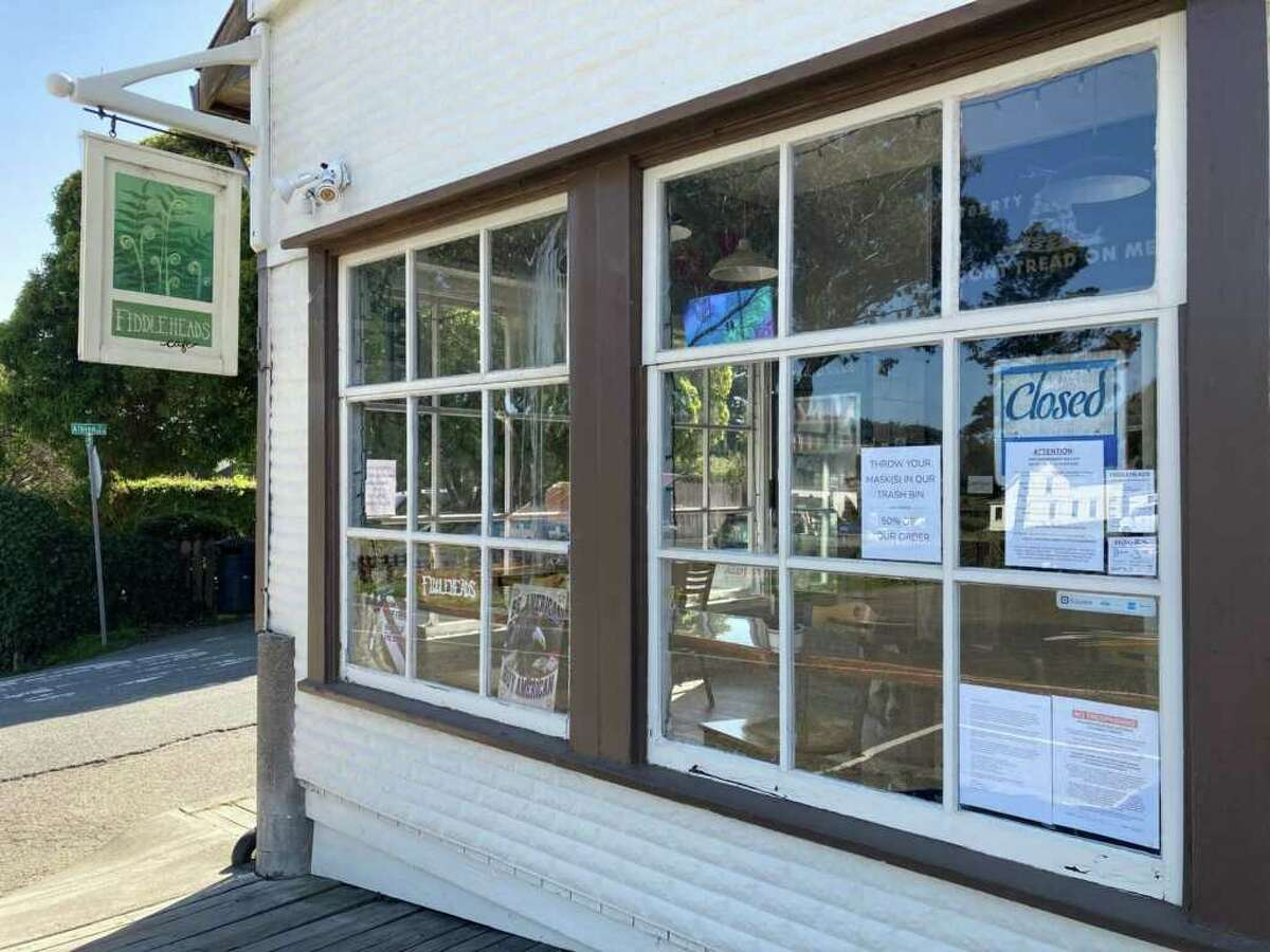 The exterior of Fiddleheads Cafe in Mendocino, Calif.