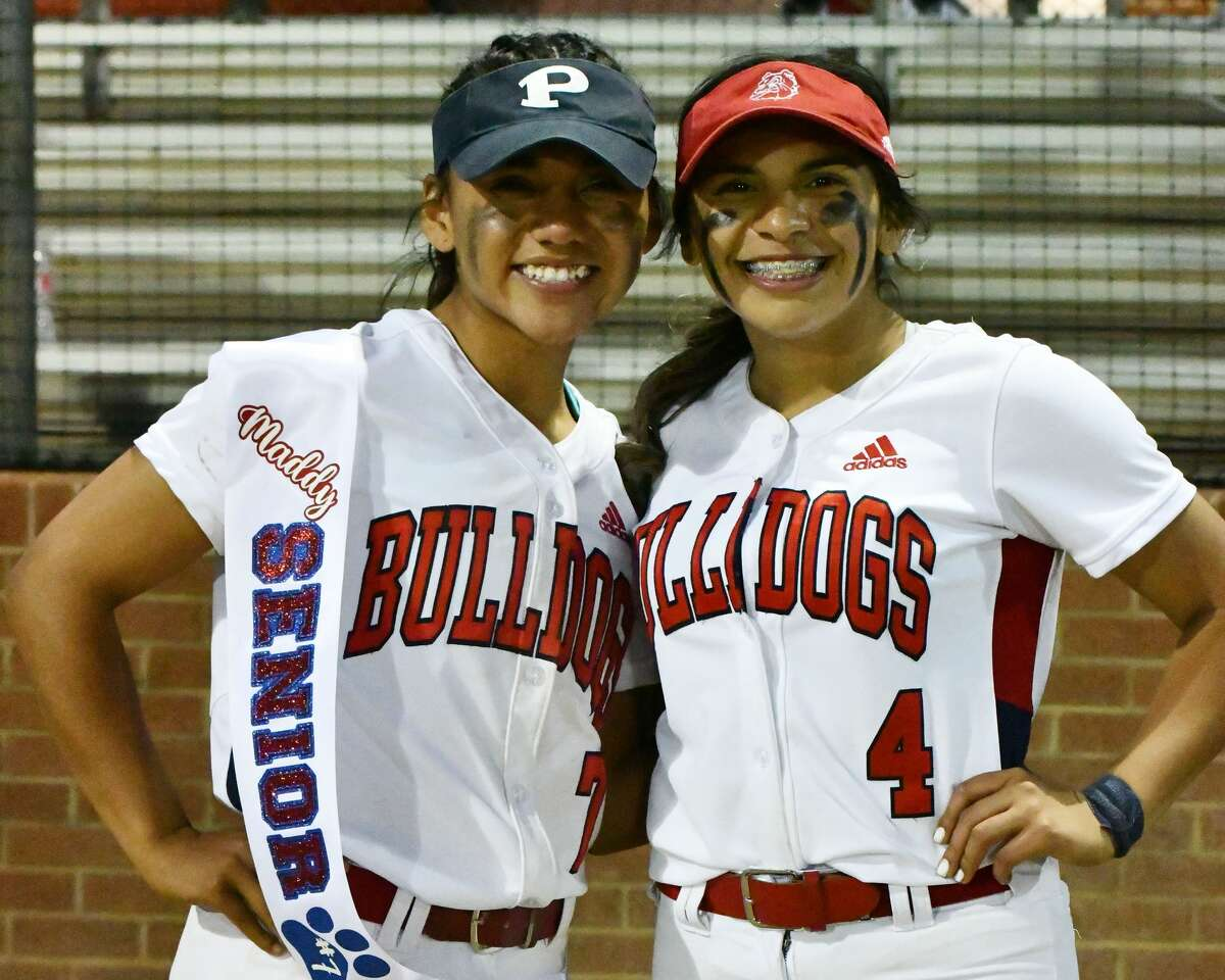 Pitchers Maddy Martinez (left) and SammyBriones combined to pitched a five-inning no hitter for Plainview in an 11-0 win over Amarillo Palo Duro on Monday at Lady Bulldog Park.