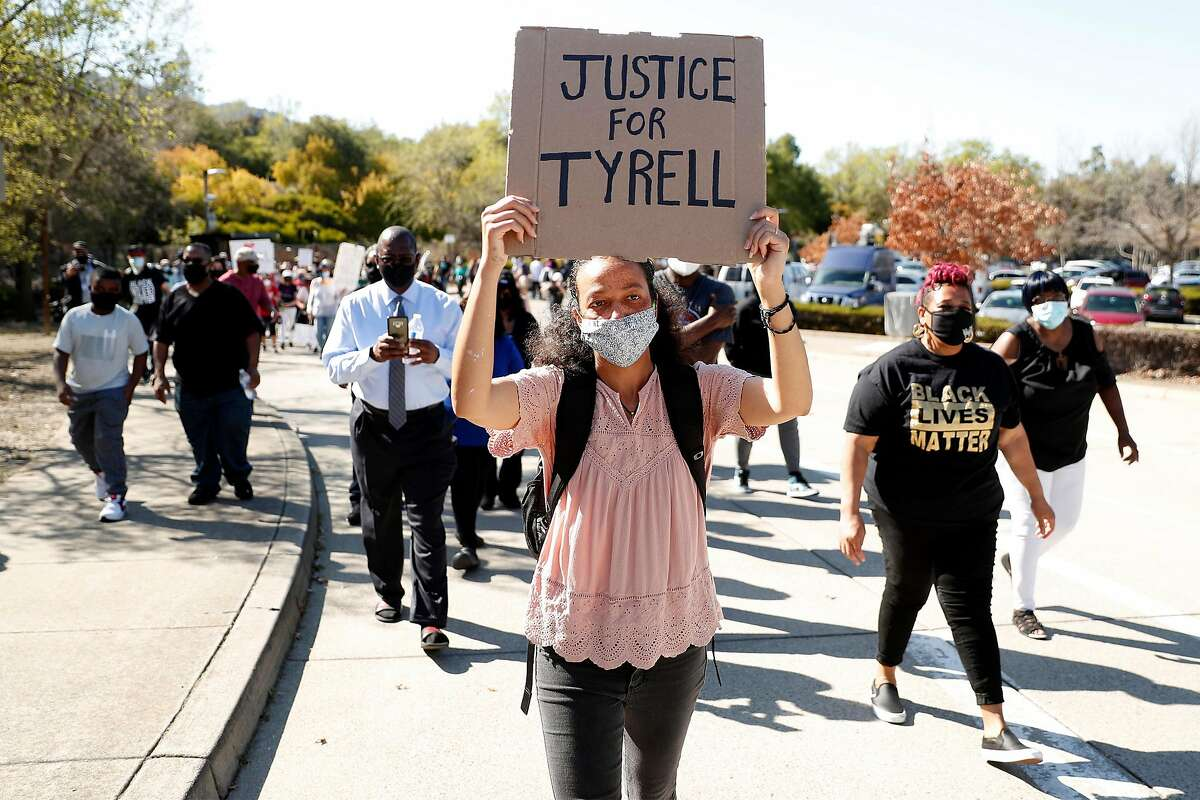 During a march to Danville Police headquarters, Veronica Benjamin leads the family of homeless man, Tyrell Wilson, was shot and killed by the same Danville Police officer who shot and killed Laudemer Arboleda in November 2018. Photographed on Sunday, March 28, 2021, in Danville, Calif..