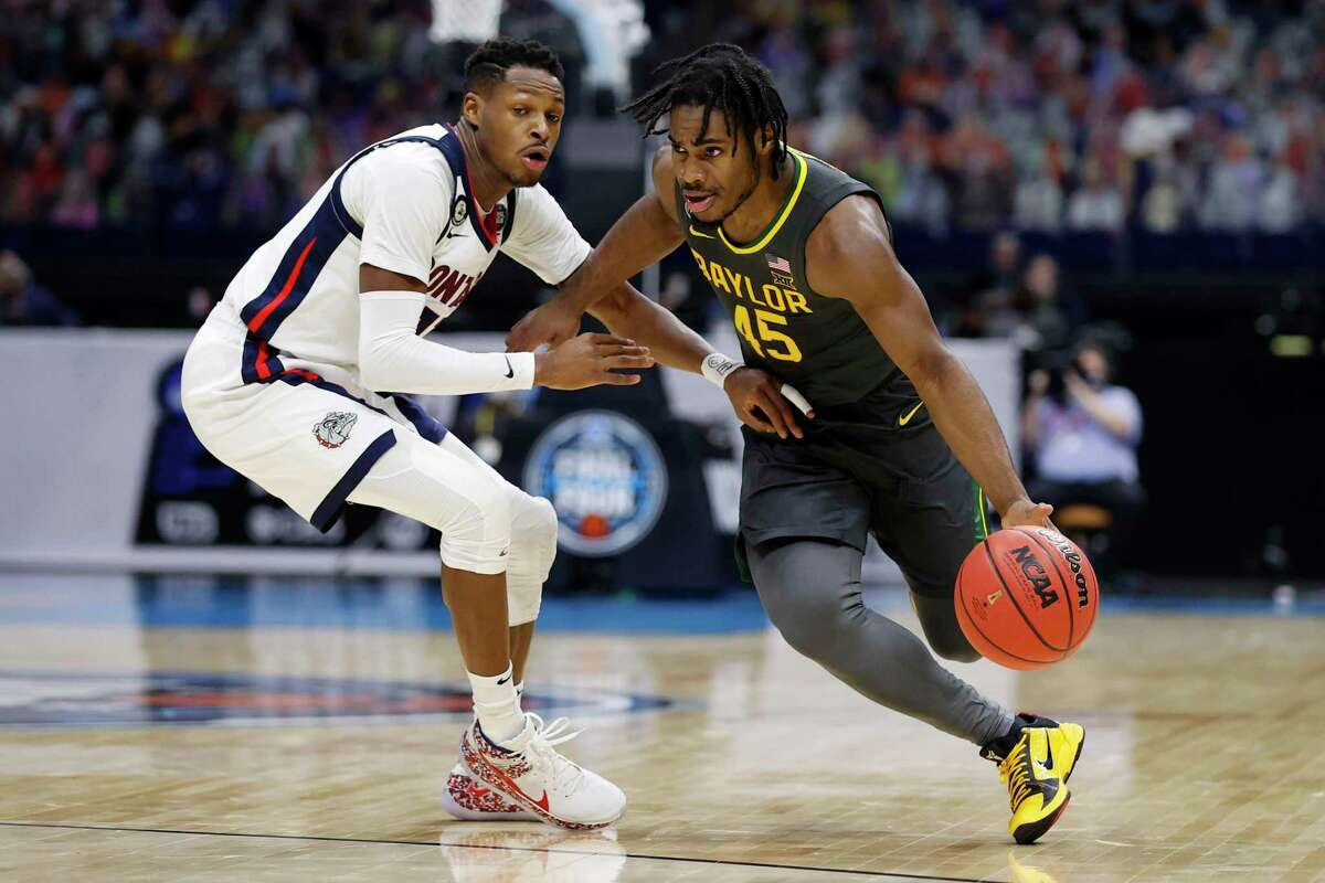 Baylor's Davion Mitchell, right, may be among the players available for the Warriors at No. 7 if they stay put in the NBA draft.