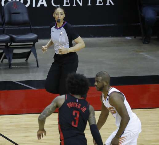 Referee Simone Jelks (81) during the fourth quarter of an NBA basketball game at Toyota Center, Monday, April 5, 2021. Photo: Karen Warren/Staff Photographer / @2021 Houston Chronicle