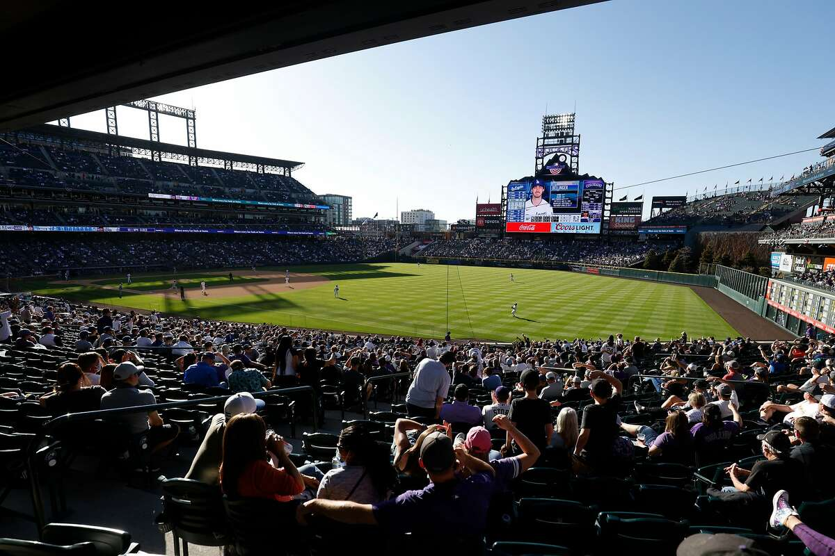 DENVER, CO - APRIL 1: A general view of the stadium as Charlie Blackmon #19 of the Colorado Rockies catches a fly ball to end the eighth inning against the Los Angeles Dodgers on Opening Day at Coors Field on April 1, 2021 in Denver, Colorado. The Rockies defeated the Dodgers 8-5. (Photo by Justin Edmonds/Getty Images)