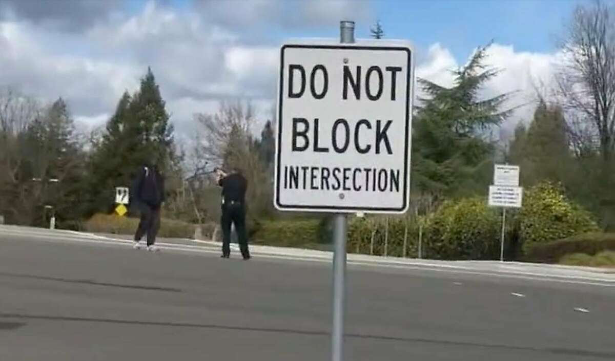 A video captured by a motorist who declines to be identified depicts the shooting of homeless man Tyrell Wilson, who was shot at point blank range by Danville police officer Andrew Hall on March 11, 2021 in the intersection of Sycamore Valley Road and Camino Ramon. Wilson died six days later in a local hospital. The officer contended that Wilson was armed with a folding knife he had refused to relinquish and that he had advanced toward Hall, giving him cause to shoot.