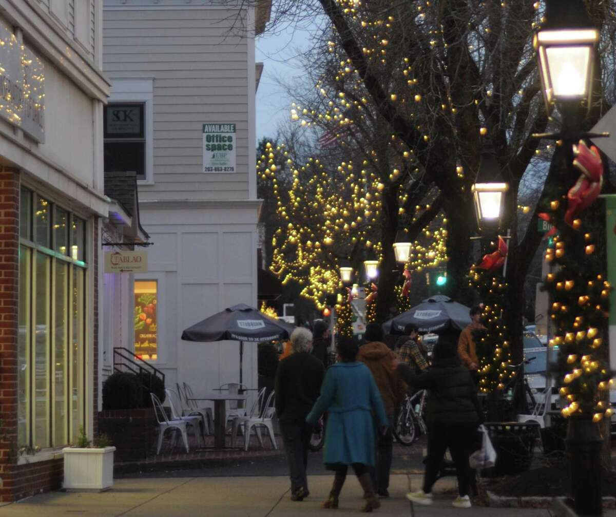 Shoppers out on Ridgefield's Main Street on a recent Saturday.