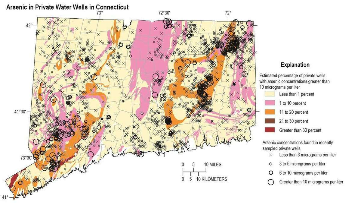 The colors on this map identify the estimated percentage of private wells in Connecticut with water containing arsenic concentrations greater than 10 micrograms per liter, the U.S. Environmental Protection Agency's maximum contaminant level for arsenic in drinking water supplies. The black symbols identify arsenic concentrations in water from sampled wells. White areas on the map, representing 1.9 percent of the state, indicate geologic units from which no arsenic samples are available.