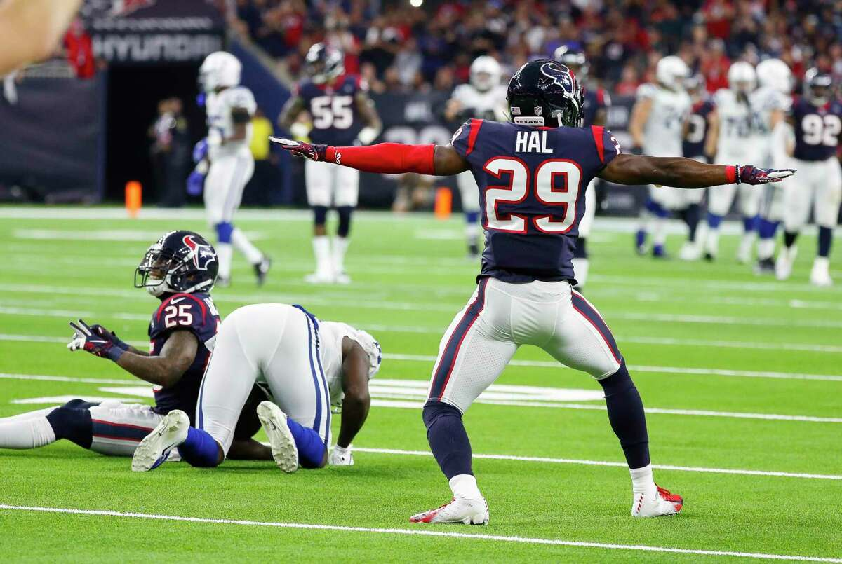 Houston Texans defensive back Andre Hal (29) celebrates after stopping a pass during the third quarter of an NFL first round playoff game at NRG Stadium, Saturday, Jan. 5, 2019, in Houston.