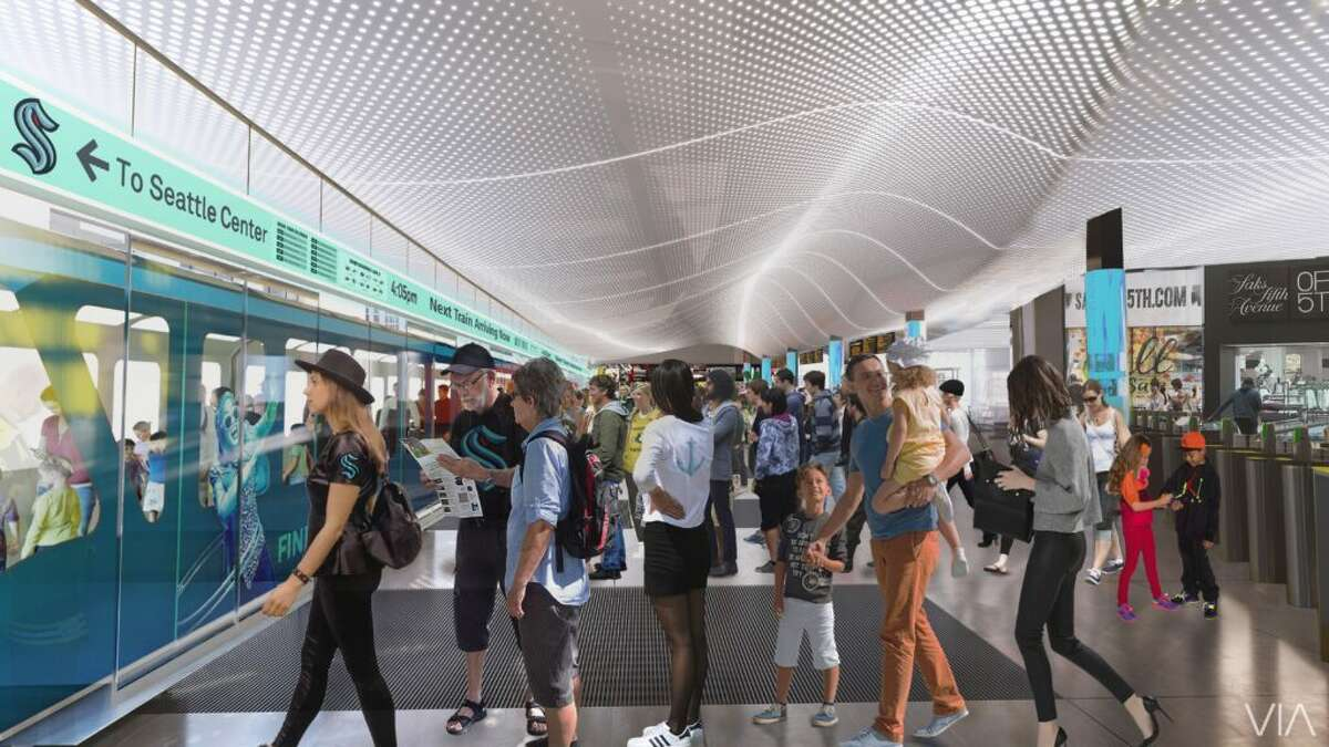 Rendering shows updated Westlake Center monorail station.