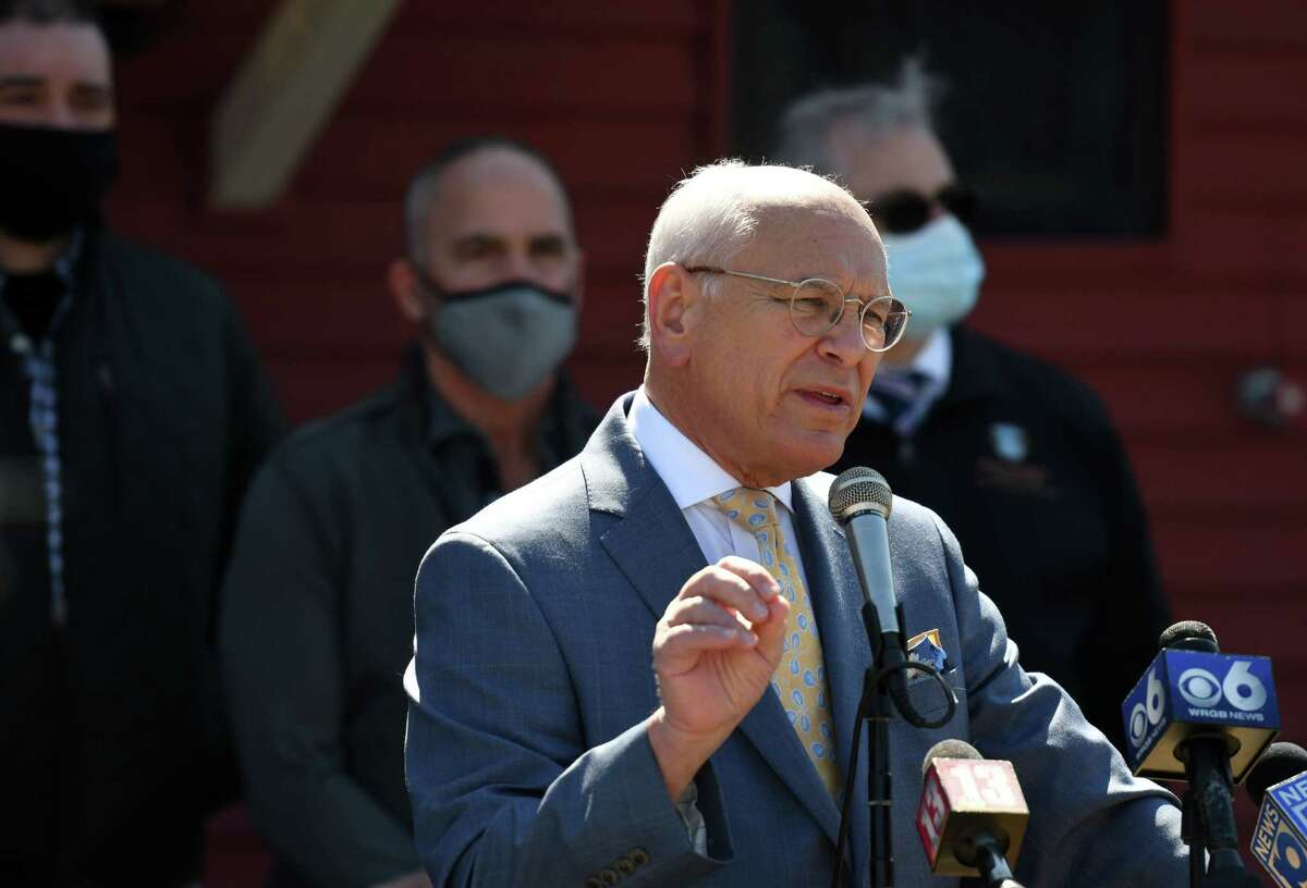 U.S. Rep. Paul Tonko spoke on Tuesday, April 6, 2021, outside Russo's Grill in Amsterdam, N.Y. Tonko, D-Amsterdam, opposes passage of a bipartisan infrastructure bill without a Senate agreement on another bill that contains climate measures he champions. (Will Waldron/Times Union)