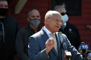 U.S. Rep. Paul Tonko joined U.S. Senate Majority Leader Charles Schumer for an announcement that state restaurants are now eligible for their own, direct federal pandemic relief, as part of the American Rescue Plan on Tuesday, April 6, 2021, at Russo's Grill in Amsterdam, N.Y.  (Will Waldron/Times Union)