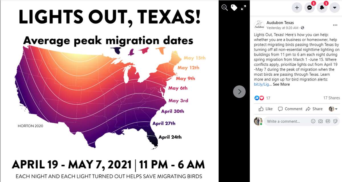 Texans are encouraged to participate in 'Lights Out, Texas' since most migrating birds will travel at night this initiative will help our feathery friends have a safe journey.