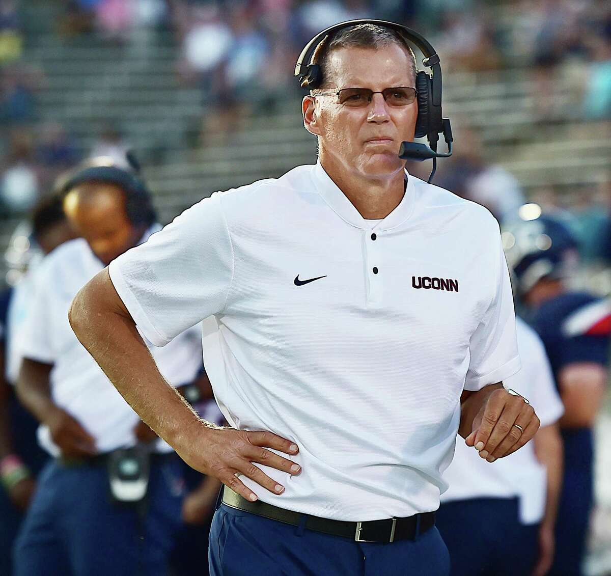 UConn coach Randy Edsall on the sidelines in the Huskies' season opener against the University of Central Florida Knights in an American Athletic Conference matchup on Aug. 30, 2018 at Pratt & Whitney Stadium at Rentschler Field in East Hartford.