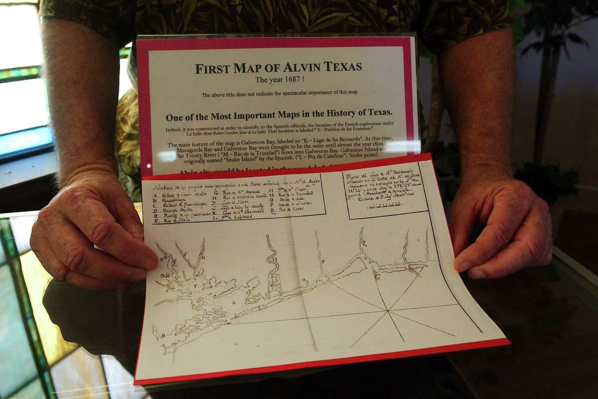 A reproduction of a map of the Galveston area coast from 1687 is one of several original and reproduced documents from Texas history held at the museum.