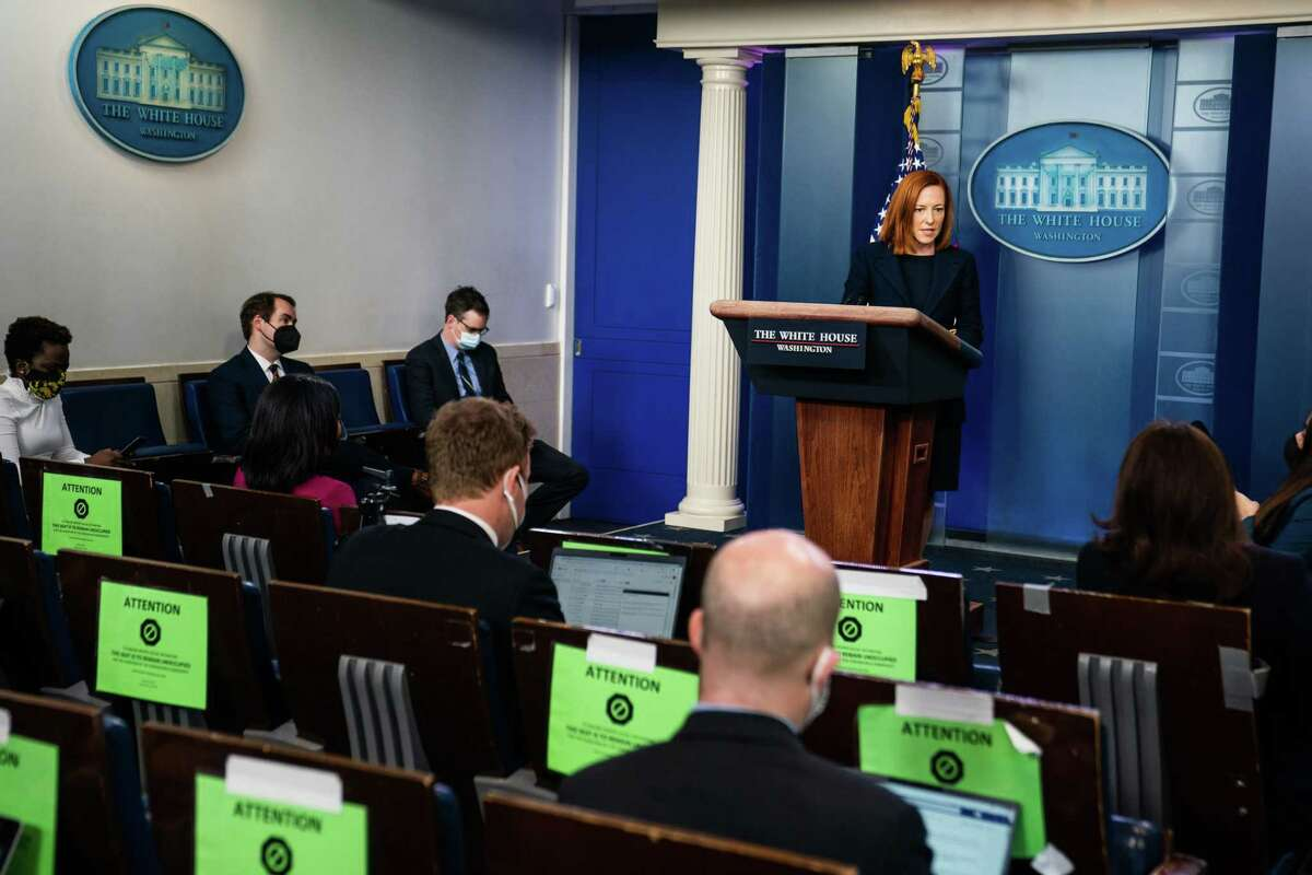 White House press secretary Jen Psaki conducts the daily news briefing on March 29, 2021.