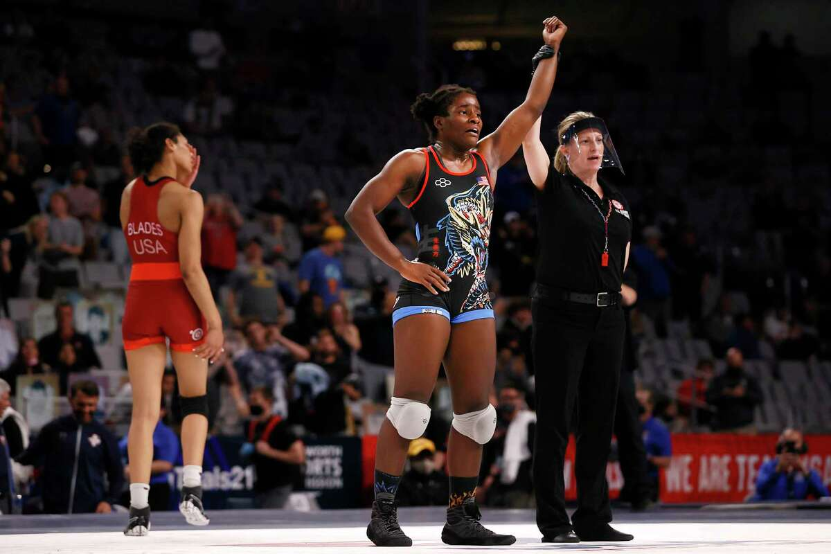 FORT WORTH, TEXAS - APRIL 03: Tamyra Mensah-Stock celebrates after beating Kennedy Blades in their Freestyle 68kg finals match on day 2 of the U.S. Olympic Wrestling Team Trials at Dickies Arena on April 03, 2021 in Fort Worth, Texas. (Photo by Tom Pennington/Getty Images)