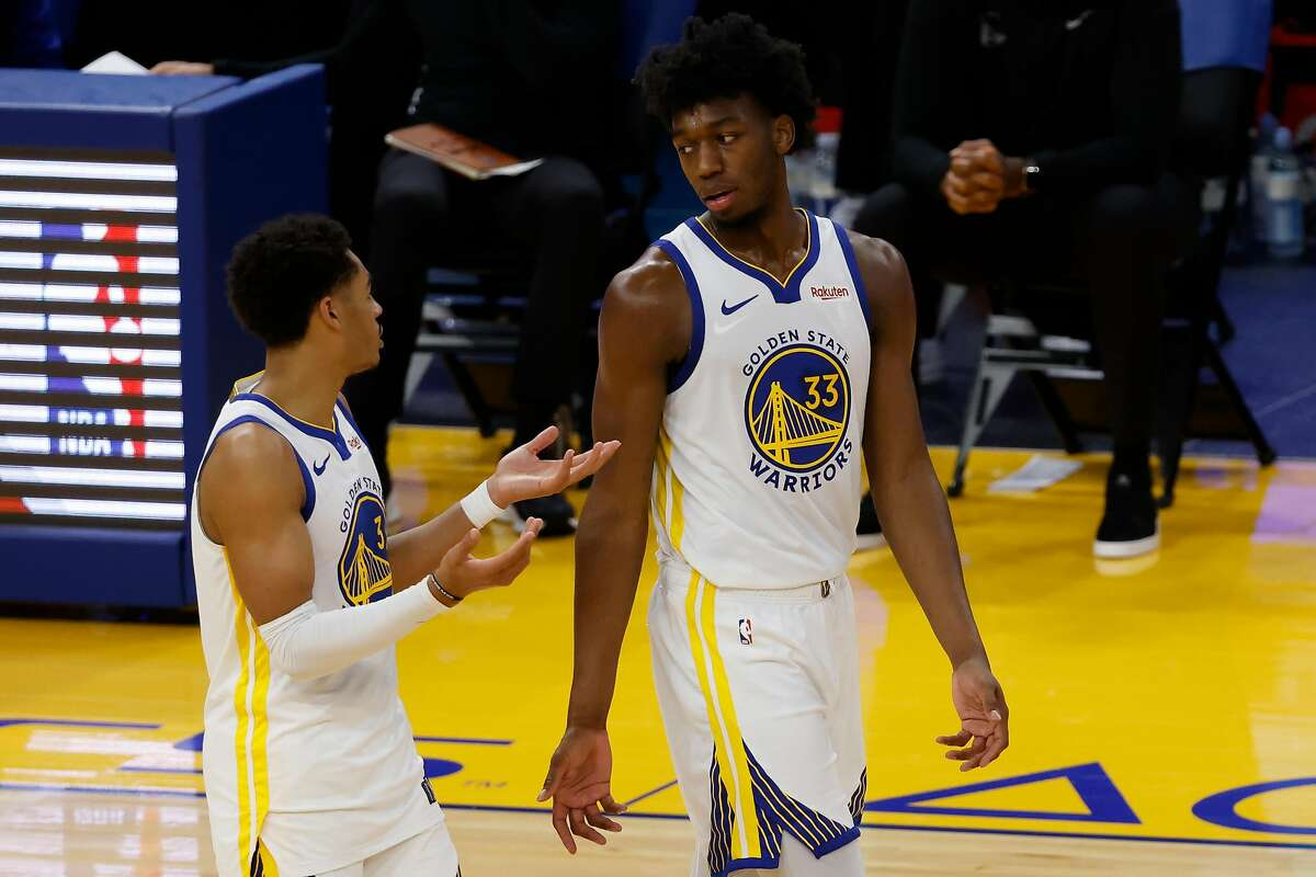 Golden State Warriors center James Wiseman during his NBA game between the Atlanta Hawks and the Golden State Warriors at Chase Center in San Francisco, CA on Friday 26 March 2021.