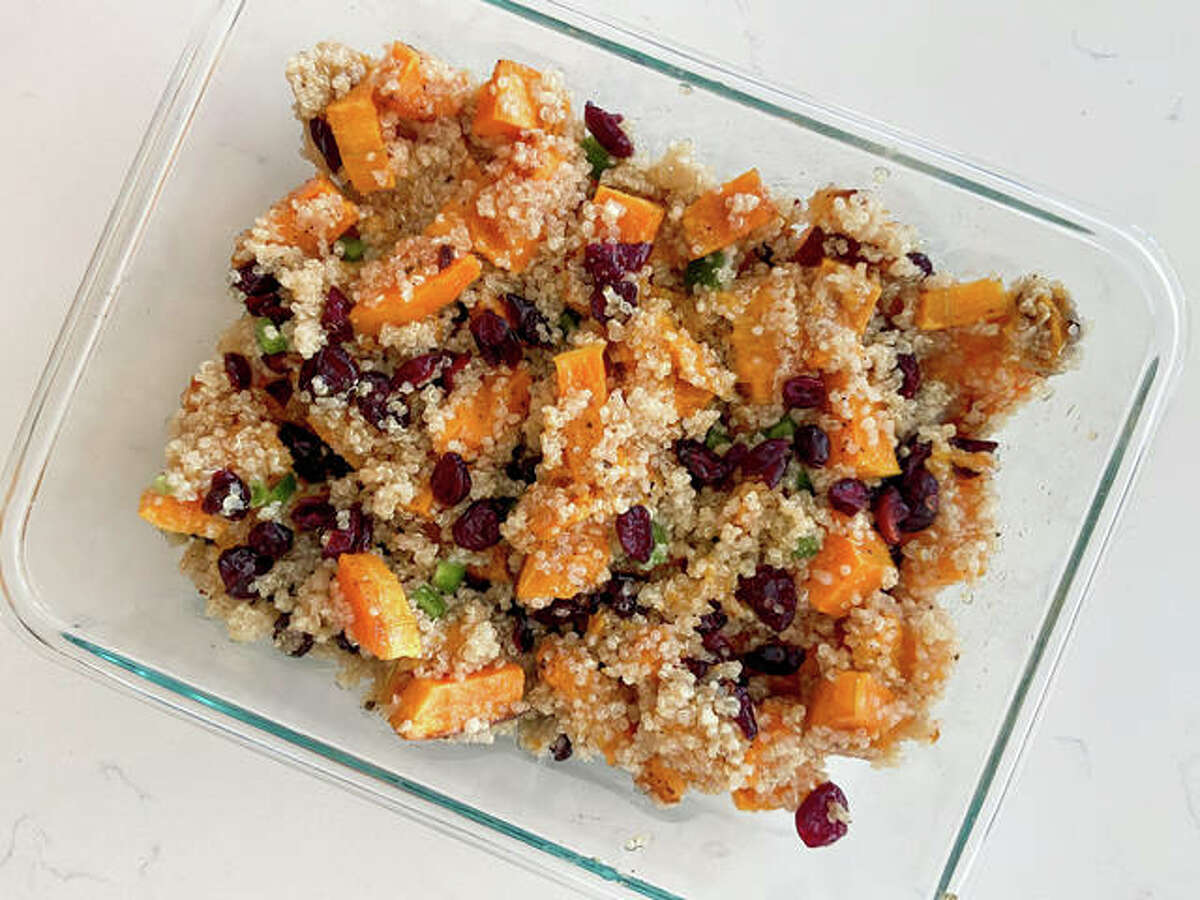 Squash and quinoa with cranberries make this dish sweet while the addition of vinaigrette gives it a savory flavor, according to recipe creator Rachel Tritsch.