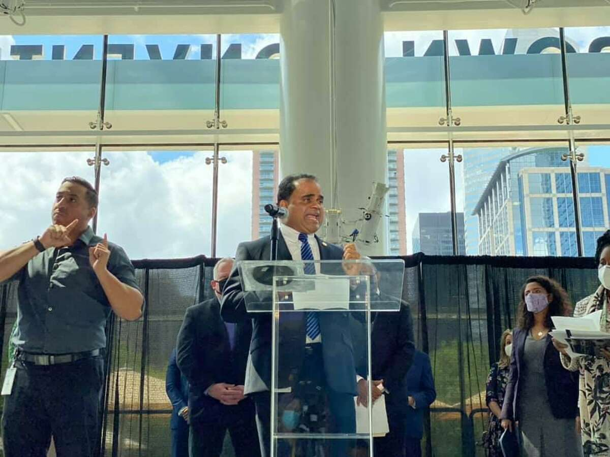 Fort Bend County Judge KP George speaks out against Texas House Bill 6 and Texas Senate Bill 7 at a press conference on Monday, April 5, 2021.