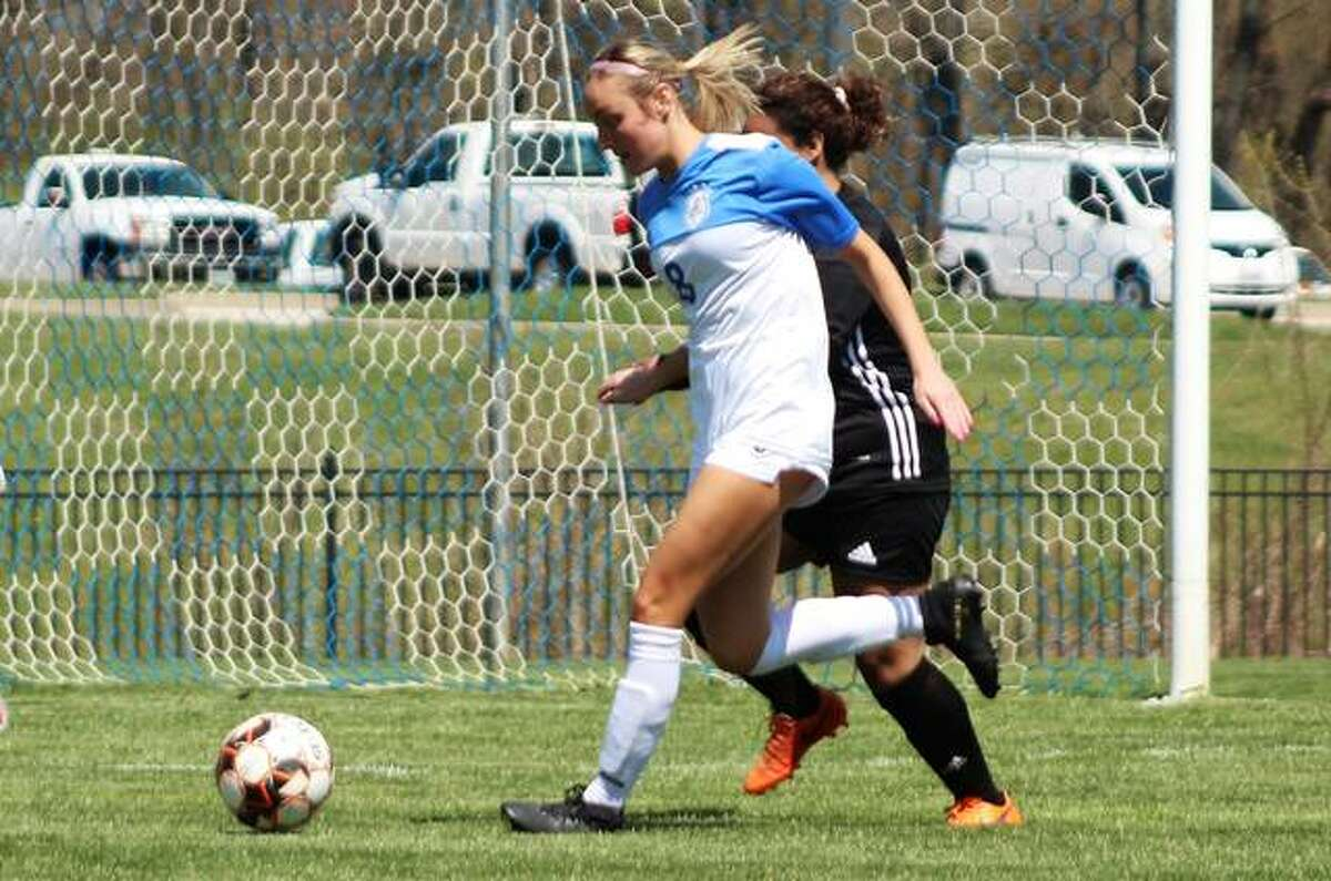 Kara Crutchley (8), scored a goal in LCCC's 5-0 victory over Parkland College Monday in Champaign. Crutchley is a sophomore from East Alton-Wood River. She is shown in action against Triton in last week's season opener at LCCC.