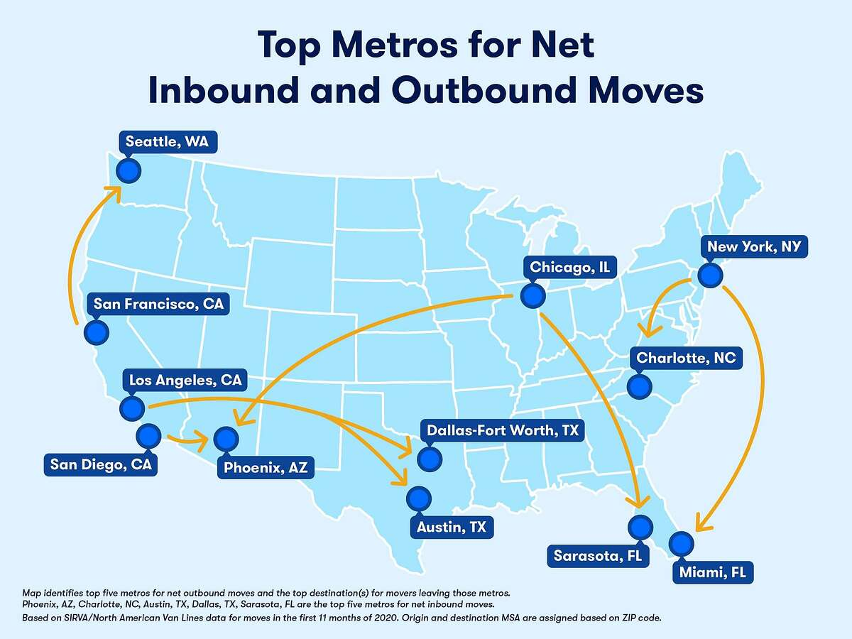 This map from Zillow's Mover Report shows the top metro areas for outbound and inbound moves during the pandemic.