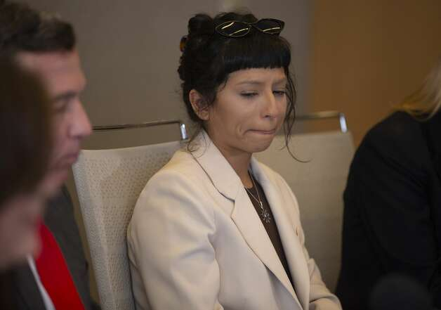 Ashley Solis, the first accuser of the sexual assault allegations against Houston Texans quarterback DeshaunWatson, is overcoming with emotions while giving her statement during a news conference Tuesday, April 6, 2021, in Houston. Photo: Yi-Chin Lee/Staff Photographer / © 2021 Houston Chronicle