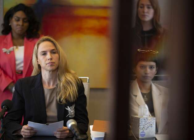 Attorney Cornelia Brandfield-Harvey, left, reads a statement by another accuser of the sexual assault allegations against Houston Texans quarterback DeshaunWatson during a news conference Tuesday, April 6, 2021, in Houston. Photo: Yi-Chin Lee/Staff Photographer / © 2021 Houston Chronicle