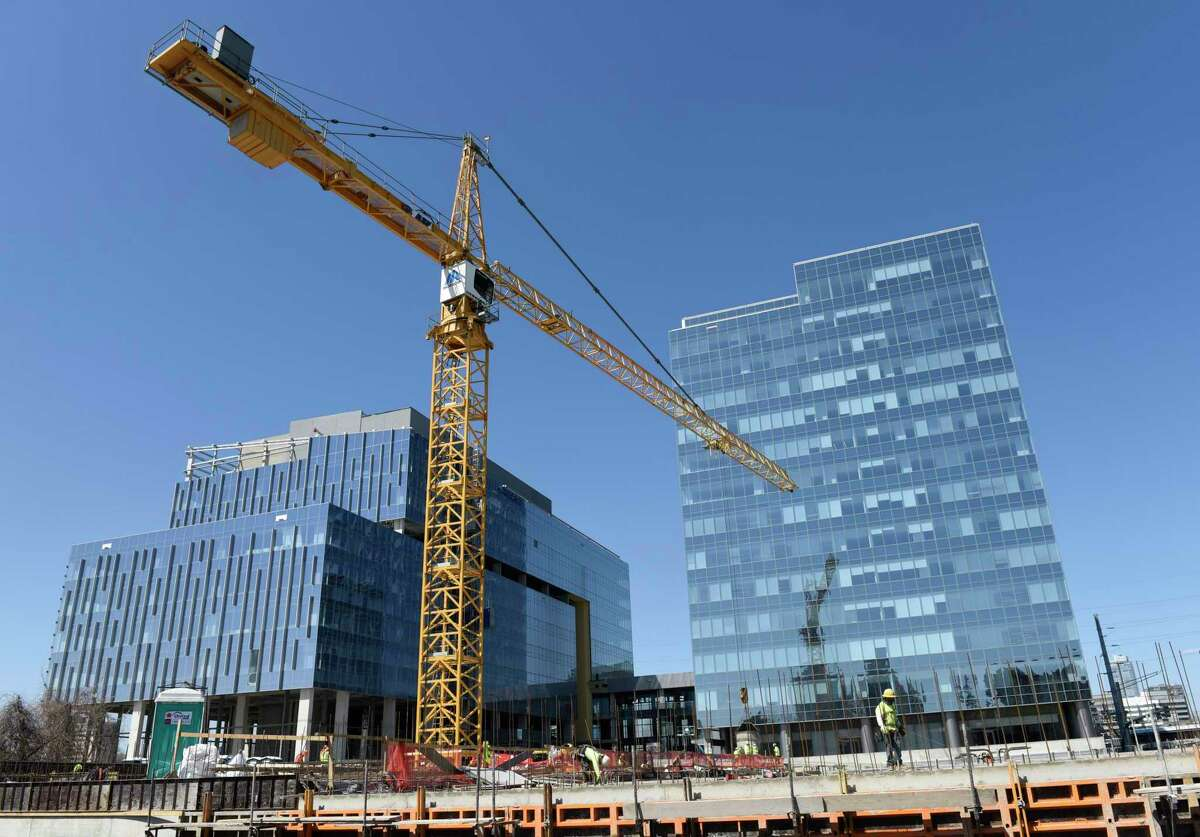 Construction continues at the site of Charter Communications' future headquarters at 406 Washington Blvd., in downtown Stamford, Conn., on Tuesday, April 6, 2021.