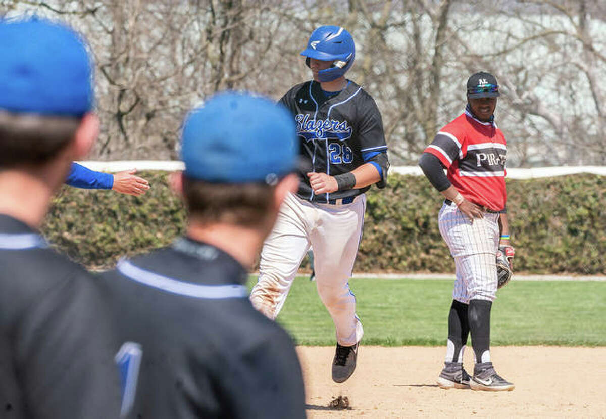 LCCC's Nick Wilke rounds the bases after slugging a walk-off home run against North Central College Saturday in Godfrey. The Trailblazers won 12-10. Wilke, a sophomore from Holt, Mo., had fiver homers on the season heading into Tuesday's game at St. Charles Community College.