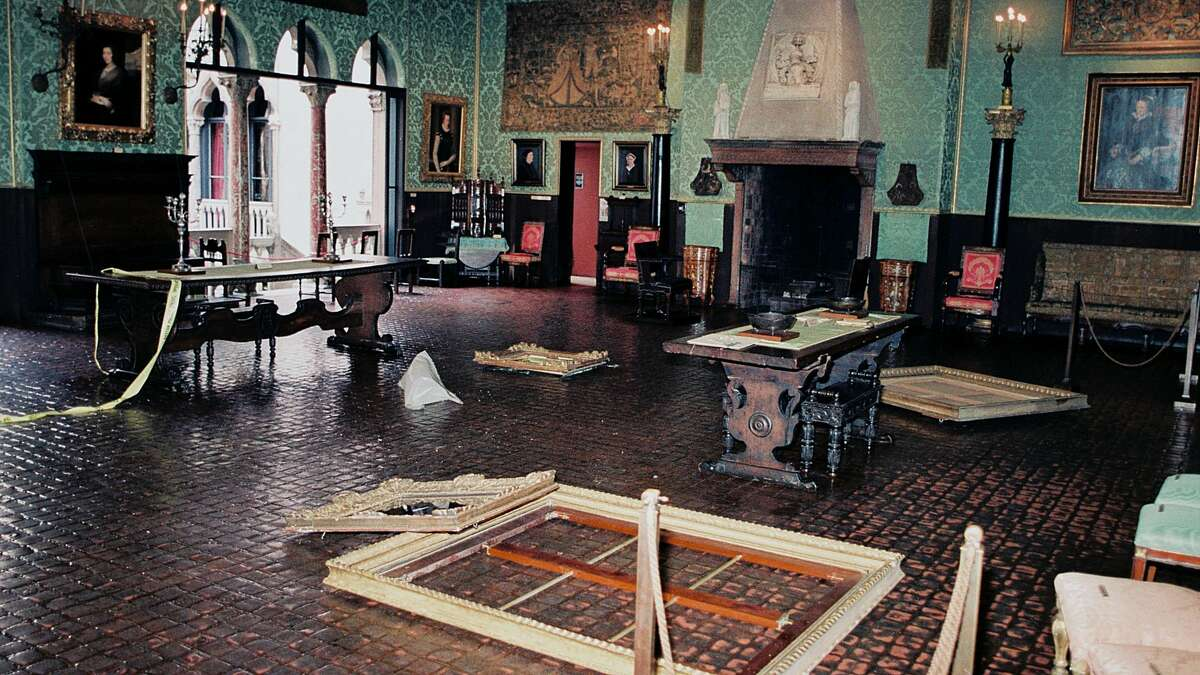 A crime scene photo from the art robbery at Boston's Isabella Stewart Gardner Museum, as seen in the Netflix documentary