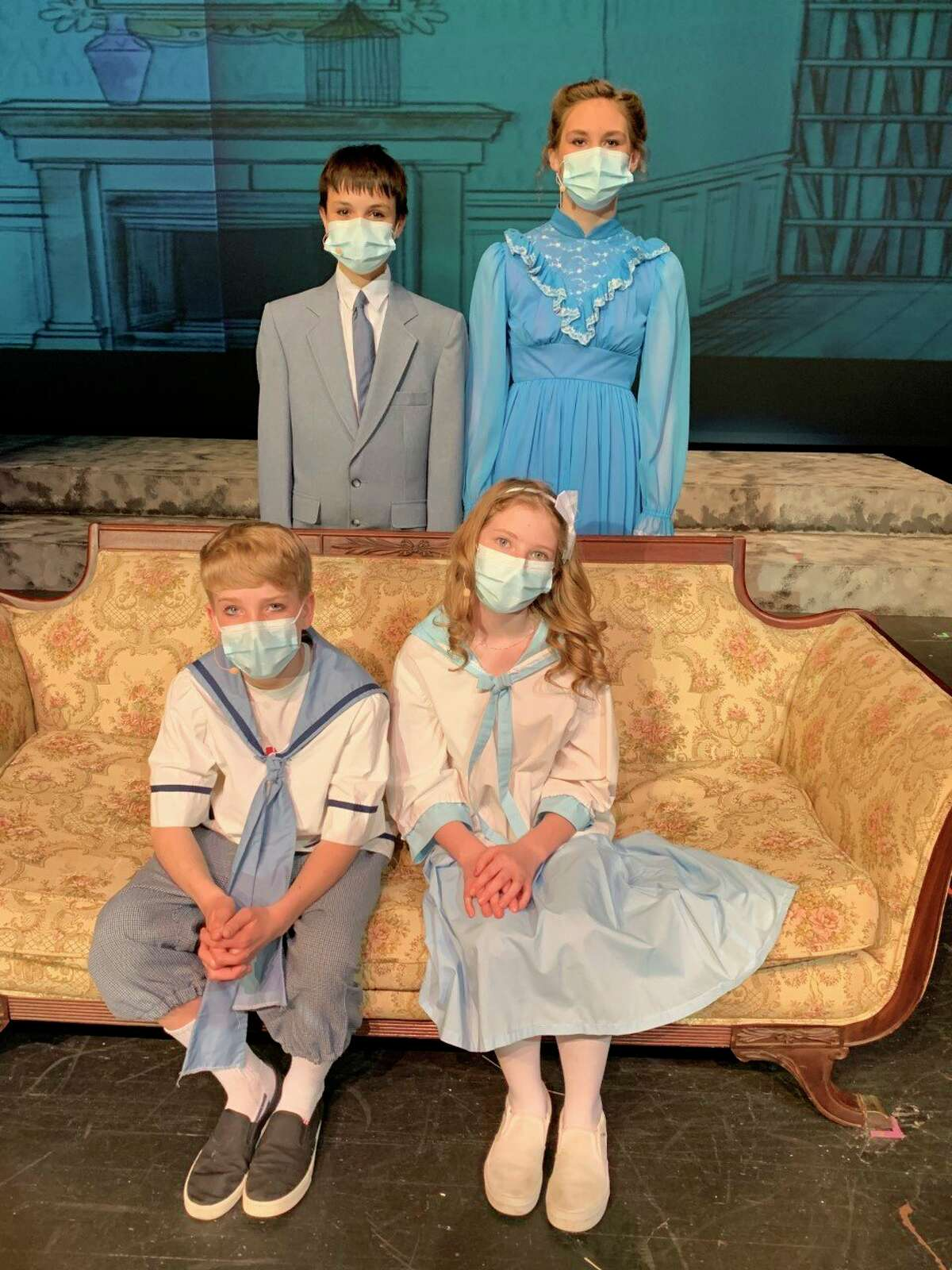 Big Rapids Middle School students Gabe Chapman, Meredith McAdams, Landon Darling and Layla Tucci play the Banks family in 'Mary Poppins Jr.' (Courtesy photo)