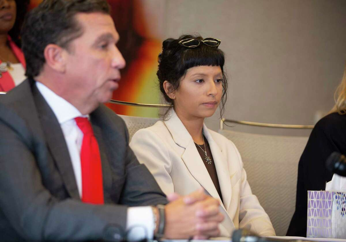 Ashley Solis, first woman to file sexual assault claims against Houston Texans quarterback Deshaun Watson, gives her statement during a news conference Tuesday, April 6, 2021, in Houston.