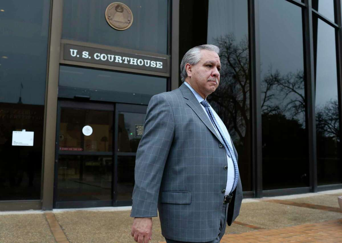 Gary Cain leaves the U.S. Federal Courthouse after he and his co-defendant, state Sen. Carlos Uresti, were convicted on all counts in their criminal fraud trial in 2018. The charges stemmed from their involvement in the failed FourWinds Logistics fracking company. Cain was a consultant for the company. On Monday, a judge denied Cain's request for an early release from prison.